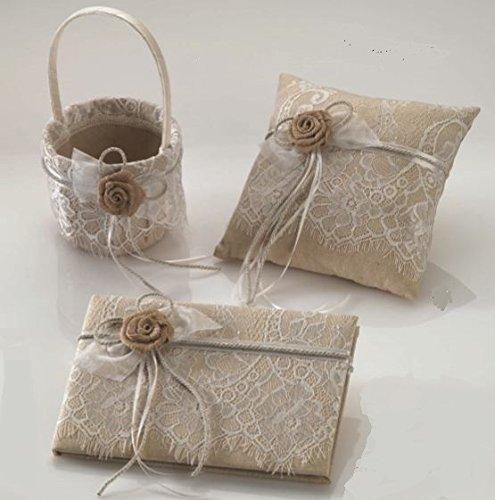 Pack cojín para anillos - alianzas, cesta arras/pétalos y libro firmas encaje y flor rústica