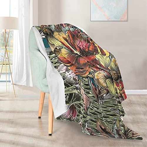 Mantas suaves y cálidas, 127 x 152 cm, hermoso patrón con flores coloridas, ligera y corta, de microfibra, 1 para el hogar, cama, sofá, silla, viaje, camping, oficina