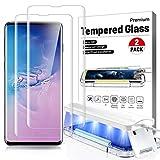 2 Pack- Galaxy s10 plus Screen Protector Ultra Glass for Samsung S10 plus Full 3D Curved Edge Tempered Glass Screen Protector Case Friendly Disperse UV Gel [ Design for Ultrasonic Fingerprint Scanner] , Easy Install Kit