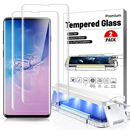 Price comparison product image 2 Pack- Galaxy s10 plus Screen Protector Ultra Glass for Samsung S10 plus Full 3D Curved Edge Tempered Glass Screen Protector Case Friendly Disperse UV Gel [ Design for Ultrasonic Fingerprint Scanner] ,  Easy Install Kit