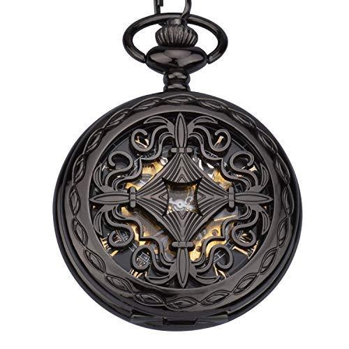 Unendlich U- Vendimia Negro Reloj de Bolsillo Mecánico para Hombres Mujeres Escala Numeral Romano con 2 Cadenas