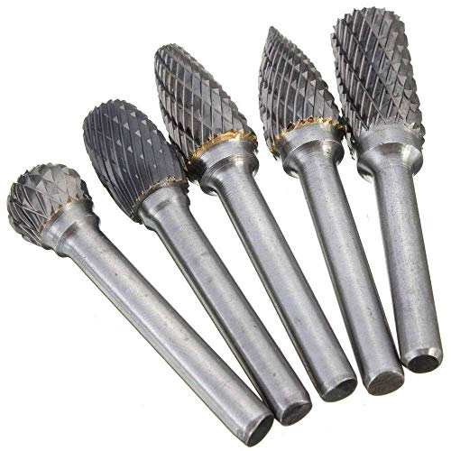 ASNOMY 5PCS Double Cut Carbide Rotary Burrs Set - 1/4 Inch Shank 10MM Head Die Grinder Bits Solid Carbide Rotary Burr File Set for Die Grinder Drill, Metal Carving,Polishing,Engraving,Drilling