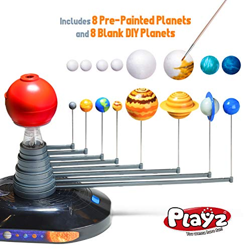 Product Image 9: Playz Solar System Model Kit with 4 Speed Motor, HD Planetarium Projector, 8 Painted Planets, and 8 White Foam Balls with Paint and Brush for a Hands-On STEM DIY Project