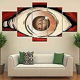 GCKJ Cuadro en Lienzo Creativo rojo ojos blancos cámara creativa 100x55cm Impresión de 5 Piezas Material Tejido no Tejido Impresión Artística Imagen Gráfica Decoracion de Pared Tu Salón o Dormitorio
