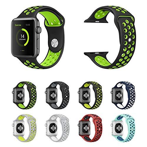Pulseira NK Sport para Apple Watch 44mm e 42mm - Marca Ltimports (Preto com Verde)