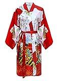 Kimono Mujer japonesa rojo - bata corta elegante de satén