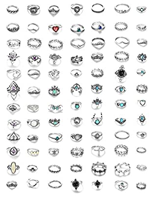 LOYALLOOK 84-130Pcs Midi Ring Bohemian Knuckle Ring Sets Fashion Finger Vintage Silver Stackable Rings for Women Girls Knuckle Midi Rings