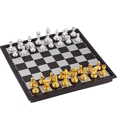 Cxcdxd Juego de ajedrez clásico de Viaje magnético Plegable portátil, Juego de Backgammon de Damas, Tablero de Vacaciones de 25x25 cm, Entretenimiento de competición