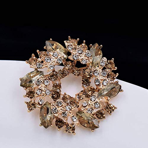 Neaer Broche ramo de diamantes de imitación broches y alfileres para bufanda, broche grande de cristal de flor para mujer, broche de moda, alfiler de regalo, accesorios (color metal: 06)