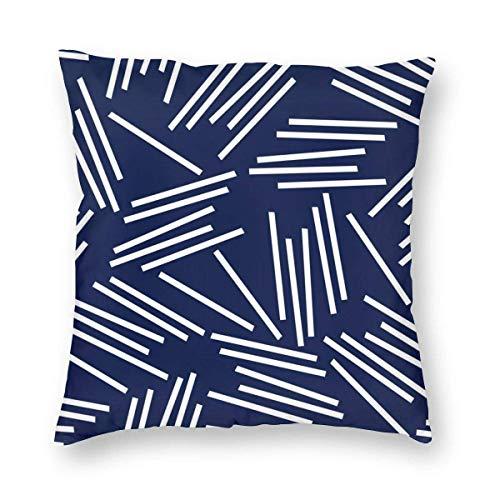 N\A Gemütliche Kissenbezug-Streifenmuster Navy Hintergrund Dekorativer quadratischer Kissenbezug-Kissenbezug für Schlafzimmer, Wohnzimmer, Sofa, Couch und Bett