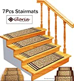 Stair Treads Rubber Backing - Indoor Skid Resistant Stair Tread (8.5' x 26') Beautiful Floral Design Stair Mats with Rubber Backing (Beige Floral)