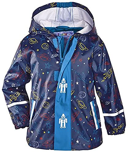 Kleinkinder Matschjacke Buddeljacke Regenjacke in verschiedenen Größen in Blau Weltallmotiven für Jungen (98/104)
