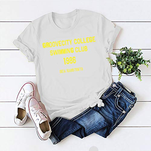 Janly Clearance Sale Blusa casual para mujer, de moda, informal, de manga corta, con cuello redondo, para verano (blanco/L)