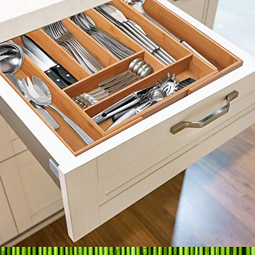 Pristine Bamboo Non-Slip, Extra Deep, Expandable, Large Silverware Organizer, Bamboo Flatware Drawer Organizer, Cutlery Tray, Utensil Holder, Adjustable Drawer Organizers, Kitchen Drawer Dividers