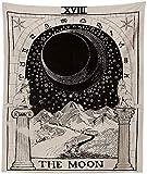 """Amkun arazzo tarocchi con luna, arazzo medievale europeo per divinazione,da appendere e come decorazione natalizia per la casa,decorazione misteriosa per camera da letto,The Moon,51""""×59"""""""