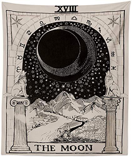 """Peoxio arazzo tarocchi con luna, arazzo medievale europeo per divinazione,da appendere e come decorazione natalizia per la casa,decorazione misteriosa per camera da letto,The Moon,51""""x 59"""""""