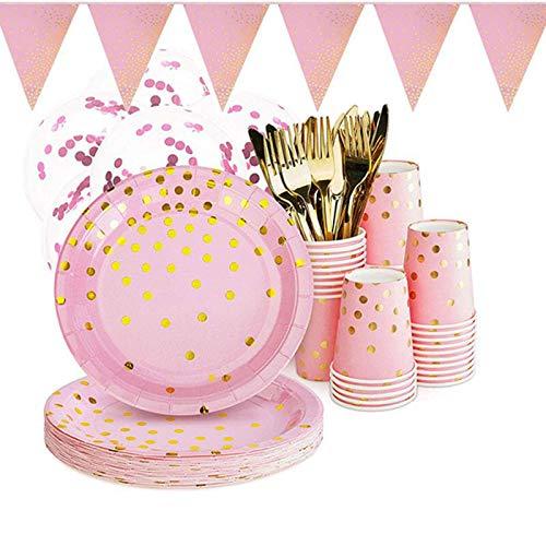 XinYang 100 Stück Partygeschirr Rosa Mädchen Papier Einweggeschirr Einweg Pappteller Pappbecher je 50 STK Für Geburtstag Party Hochzeit 50 Gäste