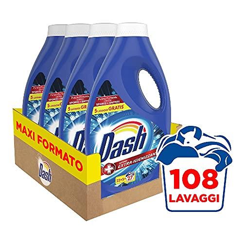 Dash Detersivo Lavatrice Liquido, 108 Lavaggi, (4 x 27), Detersivo Igienizzante, Pulizia Profonda...