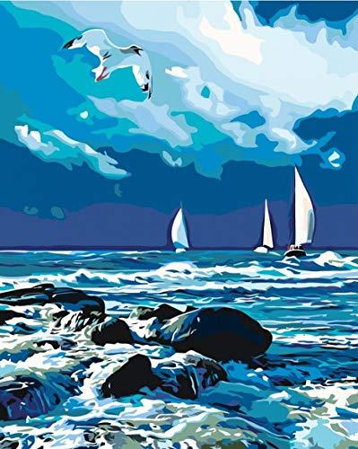 DIY pintura por número árbol paisaje kits pintados a mano dibujo lienzo imágenes decoración del hogar pintura al óleo regalo de verano A11 40x50cm