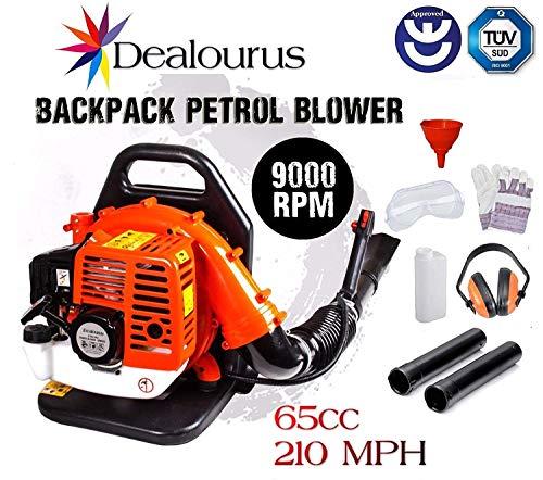 Dealourus - Soplador de Hoja de Gasolina con Mochila de 65cc - Potente Motor refrigerado por Aire de 2 Tiempos - 210 mph- Ligero con Correas de Soporte Acolchadas mejoradas para máxima Comodidad