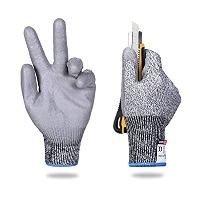 Cut Resistant Work Safety Gloves, Comfortable Soft Polyurethane Coated,Touch Screen,High Performance Level Protection (2pairs/Pack) L for Women Men