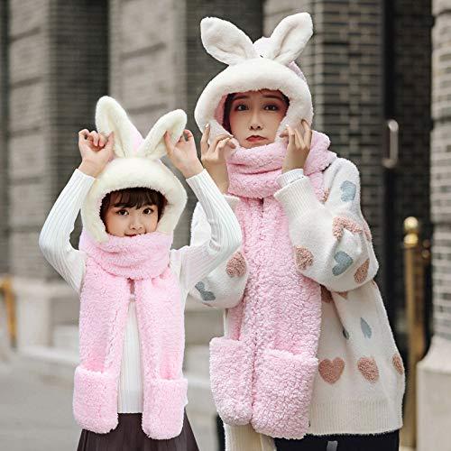 Xme Hutschal und Handschuhe dreiteilig, weibliches Winterkaninchen Plus Samtverdickung, warme Fellkaninchenmütze