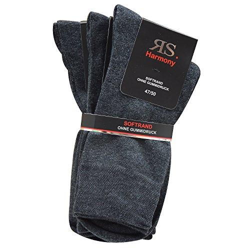 Riese RS Harmony 6er Pack Herren Socken ohne Gummidruck Übergröße Grau (43/46, Grau)