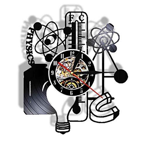 KDBWYC Tema de Estudio Experimento de física Disco de Vinilo Reloj de Pared Lámpara de luz de Pared LED Decoración del Aula de la Escuela Maestro de Ciencias Regalos para Estudiantes sin LED