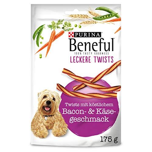 PURINA BENEFUL Leckere Twists Hundeleckerli, Hundesnack mit Bacon- & Käsegeschmack, 6er Pack (6 x 175g)