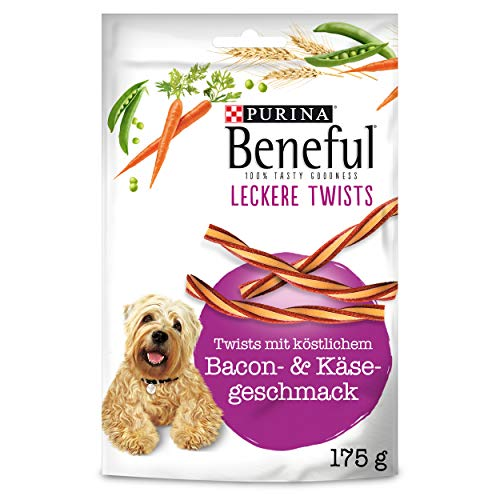 PURINA BENEFUL Leckere Twists Hundeleckerli, Hundesnack mit Bacon- & Käsegeschmack, 6er Pack (6 x 175g)