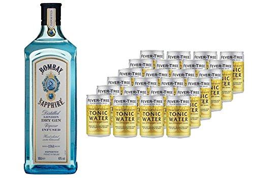 Bombay Sapphire London Dry Gin (1 x 1 l) mit Fever-Tree Premium Indian Tonic Water, Dosen, EINWEG (24 x 150 ml)