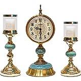 QULONG Mantel Relojes Cuarzo Péndulo Reloj De Péndulo, Silent Non Ticking Calidad Creativa Mesa De Moda Batería Oficina Inicio Oficina De Estudio Decoraciones,Blue Set