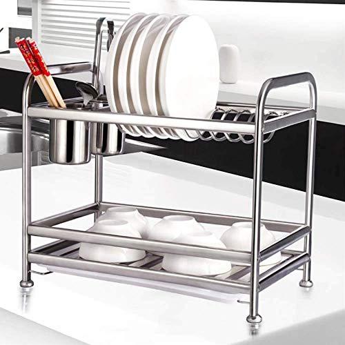 LYMUP Cubiertos Tendedero - Cocina de Acero Inoxidable Estante for Platos, cuchillería de la Cocina 2 Capa de Almacenamiento Organización Estante cubertería Bastidores de Almacenamiento