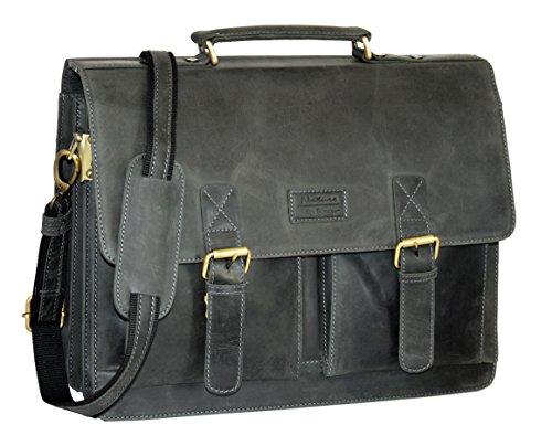 Menzo Aktentasche aus echten Leder, Laptoptasche bis zu 15 Zoll, Vintage Umhängetasche, Messenger Bag für Damen und Herren, Ideal für Schule, Uni oder Arbeit (schwarz)