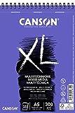 Álbum Espiral Microperforado, A5, 15 Hojas, Canson XL Mix Media, Grano Texturado 300g, Blanco