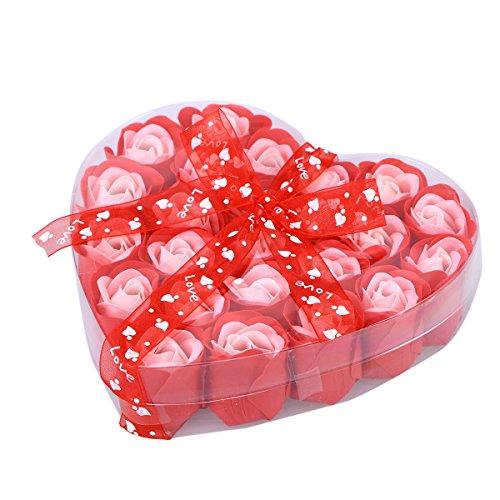 Healifty 24pcs parfumé savon de bain pétale de rose dans la boîte de coeur pour les amis cadeaux de famille