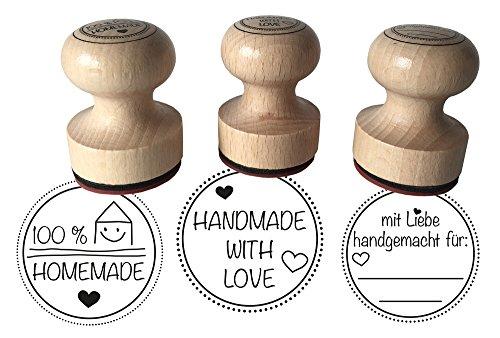 """Stempel 3er Set\""""Mit Liebe handgemacht, 100{25fa53ef650186921eee7395c6e82231df0da4c225263225be2b8971683631e2} Homemade und Handmade with Love, 3 cm Durchmesser, Holzstempel"""