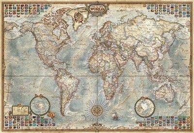Educa Borras - Serie Miniature, Puzzle 1.000 piezas, El mundo, mapa político (16764)