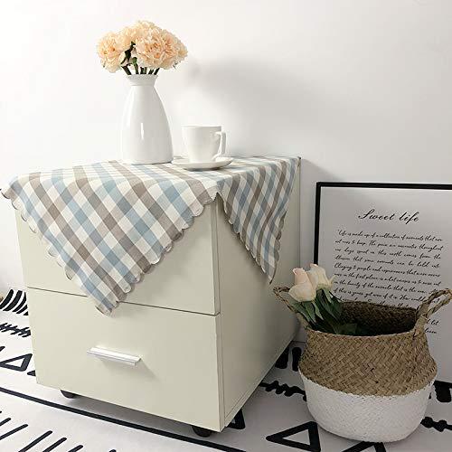 Creek Ywh Modern minimalistisch tafelkleed van Schottische stof voor nachtkastje, tafelkleed van stof, vierkant, blauw, wit, grijs, klein (reliëf), 60 x 60 cm (2 vellen)