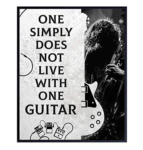 Guitar Wall Art Decor - Unique Gift for Men, Teens, Musicians, Electric, Acoustic or Bass Players, Music Fans, Guitarists - Home Decor for Living Room, Bedroom, Studio - 8x10 UNFRAMED Poster Print