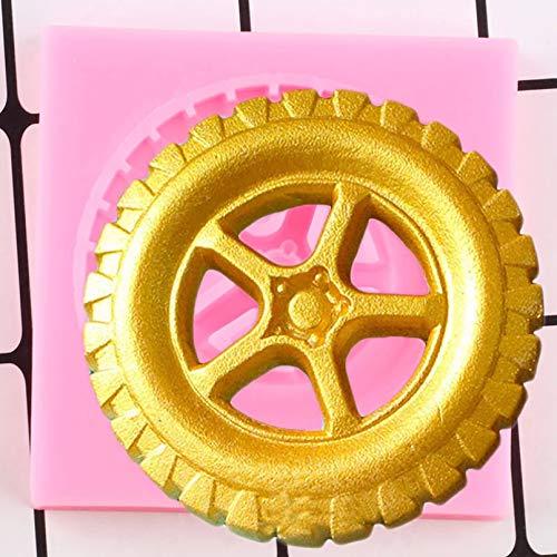 SKJH Neumáticos 3D Moldes de Silicona DIY Cumpleaños Cupcake Topper Herramientas de decoración de Pasteles Candy Clay Moldes de Pasta de Goma de Chocolate