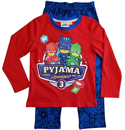 PJ Masks Pyjamahelden Schlafanzug Pyjama Jungen (Rot-Blau, 128)