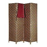 Relaxdays biombo separador de ambientes, cordón de papel, marrón, 180 x 44 x 2 cm