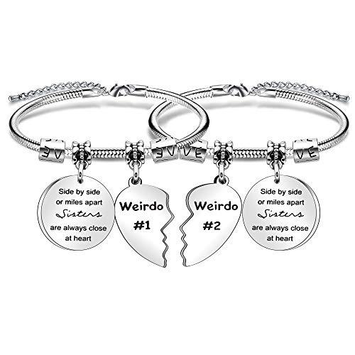 Vrienden Armband Voor 2 Geschenk, Zilver 2 stks Hanger Slang Armband Voor Colleauge Zuster Weirdo Beste Vrienden Gift