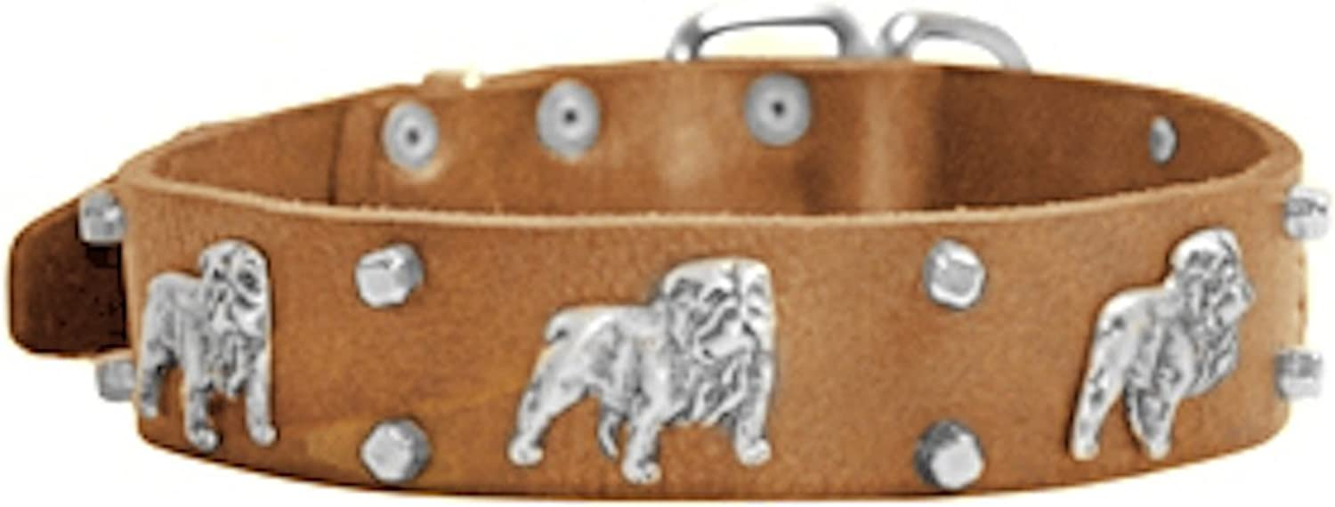 Dean and Tyler  BULLDOG'S DAY  Dog Collar With Nickel Buckle  Tan  Size 46cm By 4cm Width. Fits neck size 16 Inches to 20 Inches.