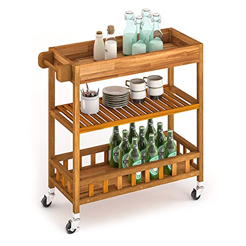 INTERBUILD SUV carro de cocina con bandeja 3 estantes carro de servicio de madera de acacia para cocina carro carro de baño exterior estrecho 799 * 349 * 850cm teca dorada
