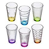 esto24 Bunte Gläser im 6er Set Trinkgläser Getränkegläser Wassergläser a 300 ml in 6 tollen...