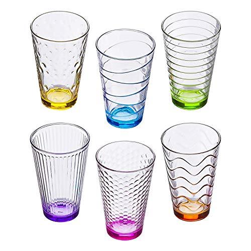 esto24 Bunte Gläser im 6er Set Trinkgläser Getränkegläser Wassergläser a 300 ml in 6 tollen Farben