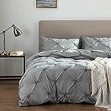 Lekesky Duvet Cover Queen, Pinch Pleat Duvet Cover, Microfiber Duvet Cover Set Ultra Soft and Comfortable 3 Pieces, 1 Pintuck Comforter Cover and 2 Pillowshams, Grey