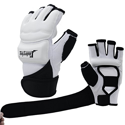 Xinluying Punch Bag Boxing Martial Arts MMA Sparring Grappling Muay Thai Taekwondo Training PU Leather Wrist Wraps Gloves White M